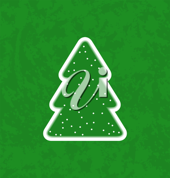 Illustration green paper cut-out christmas tree - vector