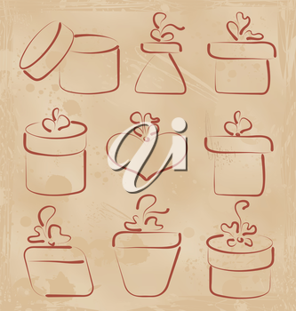 Illustration hand drawn set gift boxes for your anniversary - vector