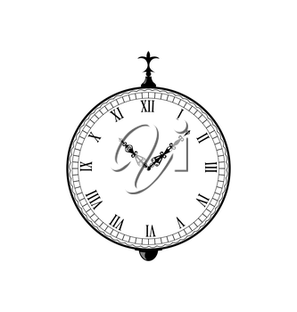 Illustration vintage clock with vignette arrows - vector