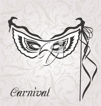 Illustration venetian carnival or theater mask with ribbons  - vector