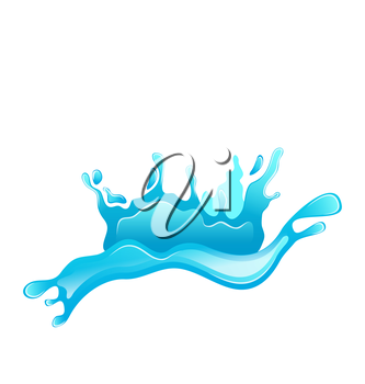 Illustration blue water splash crown isolated on white background - vector