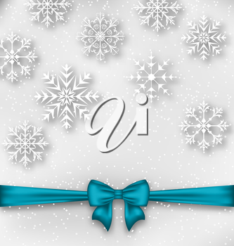 Illustration Christmas wrapping with bow ribbon and snowflakes - vector
