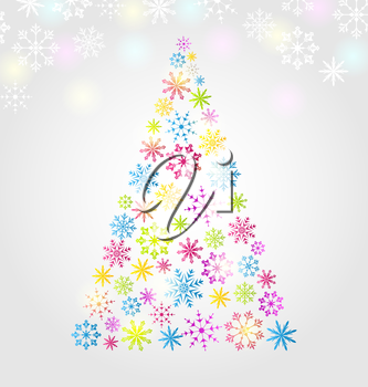 Illustration Christmas pine made of colorful different snowflakes - vector