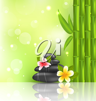 Illustration meditative oriental background with frangipani, bamboo and heap stones, spa therapy - vector