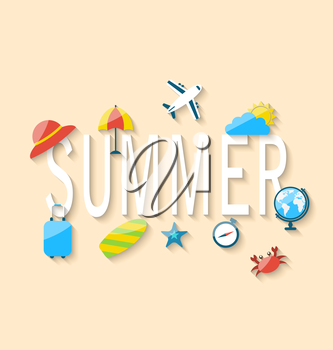 Illustration Travel Summer Background with Tourism Objects and Equipments, Colorful Flat Icons with Long Shadows - Vector