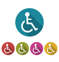 Illustration Set Colorful Pictogram of Disabled in Wheelchair, Modern Design with Long Shadows - Vector