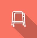 Illustration Simple Flat Icon of Walker with Long Shadow - Vector