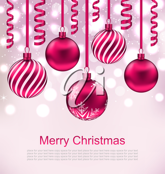 Illustration Christmas Beautiful Background with Balls and Streamer - Vector