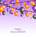 Illustration Halloween Background with Hanging Bunting Pennants and Balloons - Vector