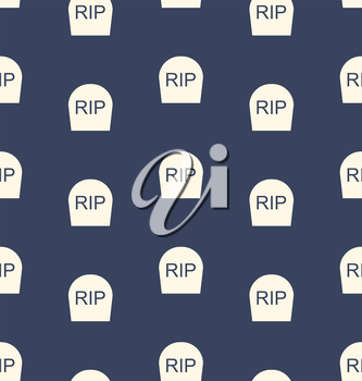 Illustration Halloween Seamless Pattern with Tombstones R.I.P. - Vector