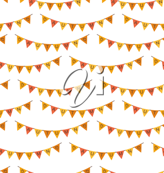 Illustration Seamless Pattern with Autumn Bright Buntings - Vector
