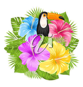 Illustration Beautiful Exotic Jungle Background with Toucan Bird, Colorful Hibiscus Flowers Blossom and Tropical Leaves, Isolated on White Background - Vector