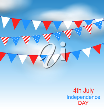 Illustration Hanging Bunting Pennants in National American Colors for Independence Day of USA, Blue Sky with Clouds - Vector