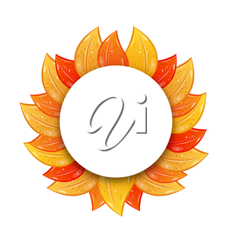 Illustration Autumn Blank Frame with Colorful Leaves, Isolated on White Background - Vector