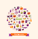 Illustration Halloween Colorful Flat Icons. Party Background - Vector