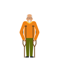 Illustration Older Man with Crutches. Disability, Elderly, Grandfather. Colorful Icon Isolated on White Background - Vector