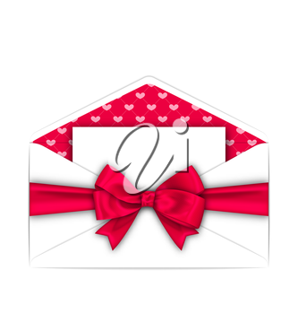 Illustration Envelope with Clean Card and Pink Bow Ribbon for Valentines Day. White Letter Isolated on White Background - Vector