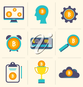 Bitcoin Digital Money, Cryptocurrency System and Mining Pool, Flat Design Icons - Illustration Vector