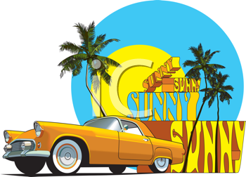 Royalty Free Clipart Image of an Old Car on a Tropical Scene