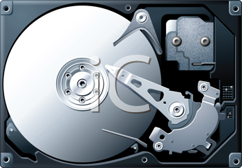 Royalty Free Clipart Image of a Detailed Illustration of a Computer Hard Disk