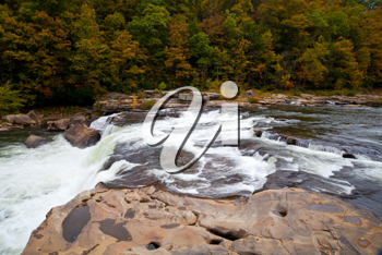 Royalty Free Photo of a Rushing River in an Autumn Forest