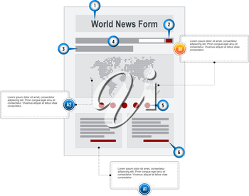 World News Internet Web Page Wireframe Structure Prototype  with pointer markers and callouts vector