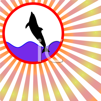 Royalty Free Clipart Image of a Silhouetted Dolphin