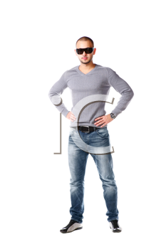 Casual friendly man in jeans and pullover - isolated over a white background