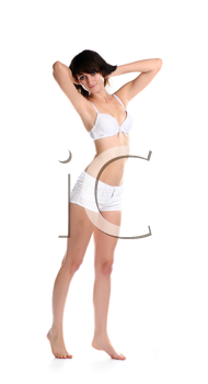 sensual girl in bra and shorts isolated in studio on white background
