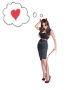 sexy halloween devil girl with thong in hands - isolated on white background. Heart in the baloon frame. Love concept.