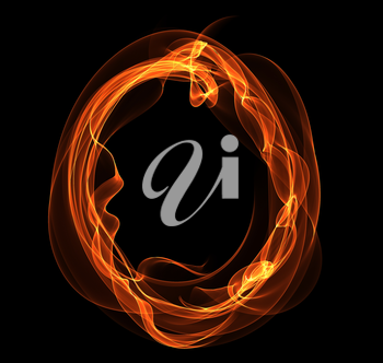 Royalty Free Clipart Image of a Letter O in Fire