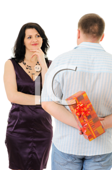 Royalty Free Photo of a Man Giving a Woman a Present