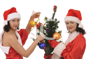 Royalty Free Photo of Two Women Decorating a Tree