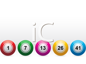 Royalty Free Clipart Image of a Row of Bingo Balls