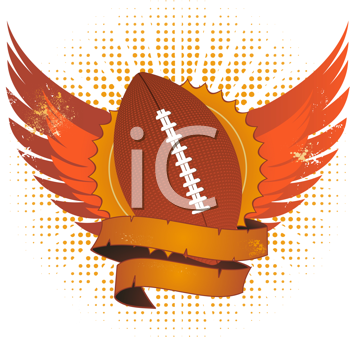 Royalty Free Clipart Image of an American Football With Wings and a Banner