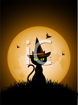 Royalty Free Clipart Image of a Black Cat in Front of a Full Moon