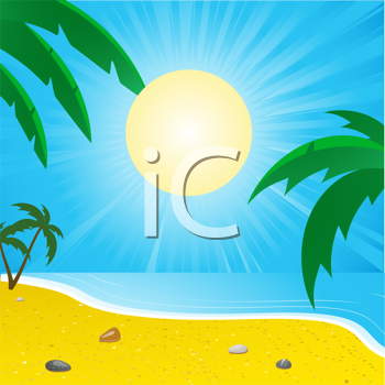 Royalty Free Clipart Image of a Tropical Beach