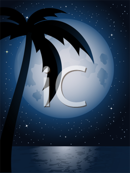 Royalty Free Clipart Image of a Beach at Night
