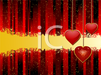 Royalty Free Clipart Image of Heart Pendants on a Red Background
