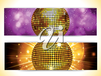 Gold Disco Ball Banners on Purple and Gold Backgrounds
