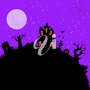 Halloween Vector Background with Spooky House, Pumpkin, Grave Yard and Black Cat.