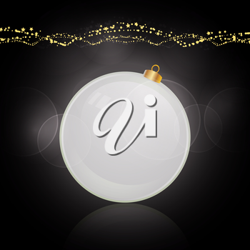 White 3D Christmas Bauble Over Black Glowing Background with Golden Decorations