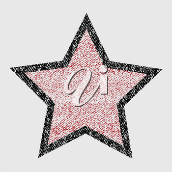 Hand Drawing Style Crayons Black and Red Star Over White Background