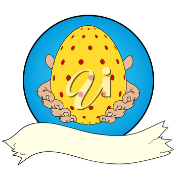 Hand Drawn Yellow Decorated Easter Egg in Hands Over Blue Border with Blank Banner