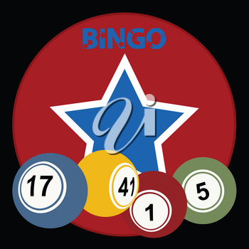 Red Circular Border With Vintage Star Bingo Lottery Balls And Decorative Bingo Text Over Black Background