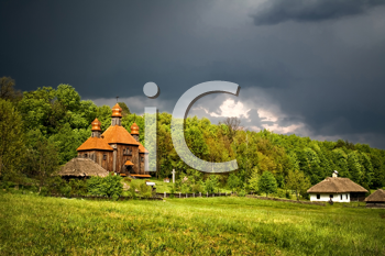 Royalty Free Photo of a Church in a Field