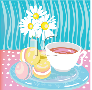 Royalty Free Clipart Image of Tea and Cookies