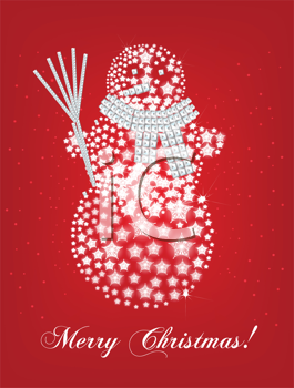 Royalty Free Clipart Image of a Snowman Christmas Greeting