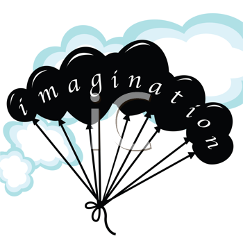 Royalty Free Clipart Image of Balloons Spelling Out Imagination
