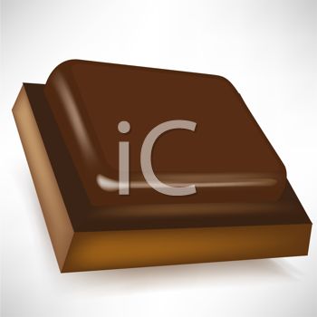 single chocolate piece in perspective isolated